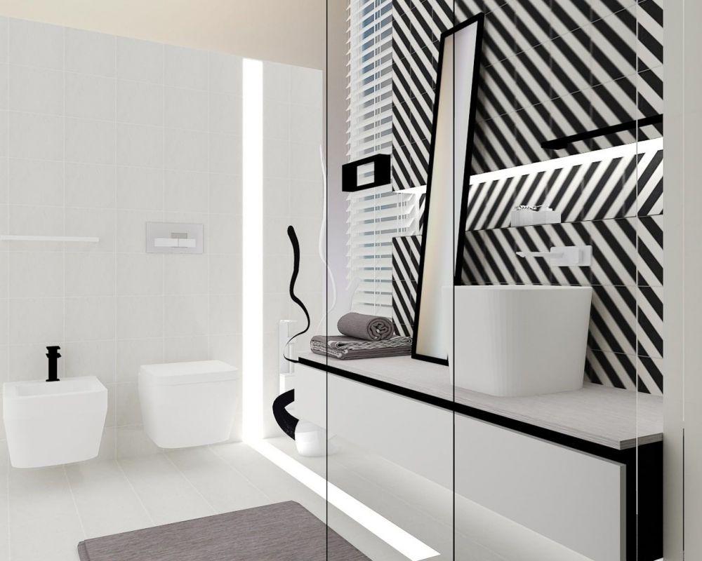 Geometrie hipnotizantă black&white în camera de baie