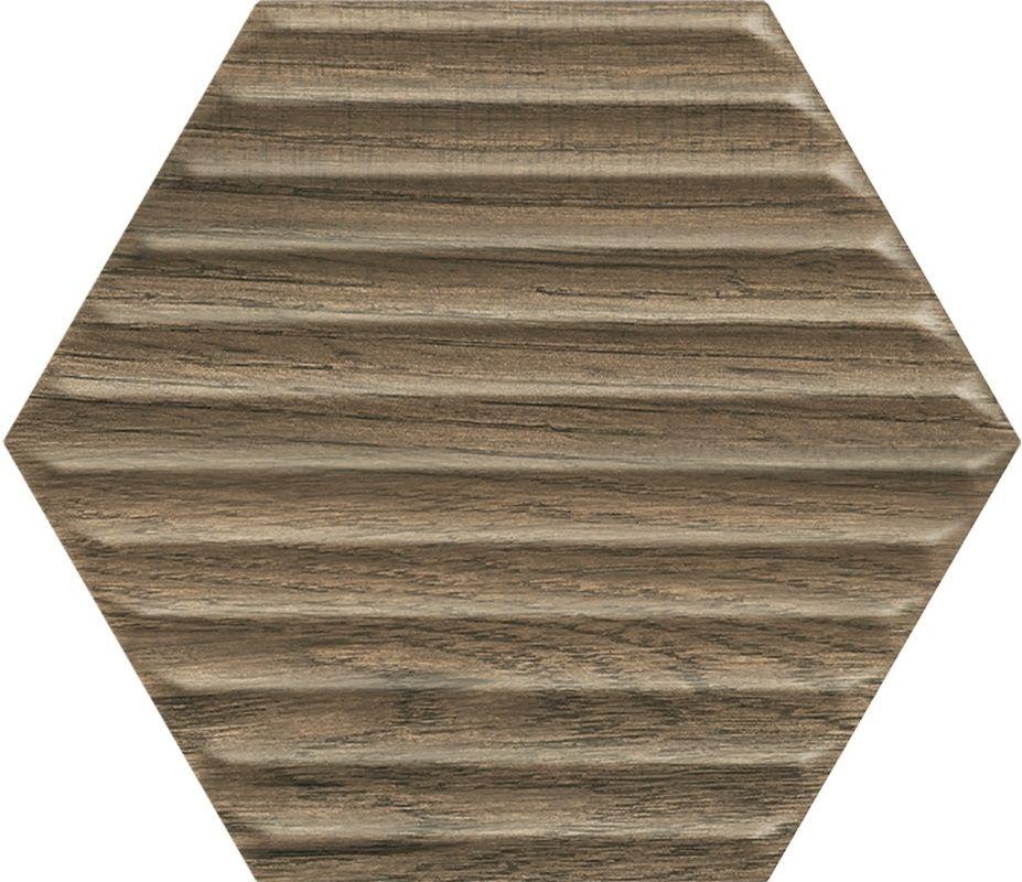 Serene Brown Heksagon Struktura Ściana